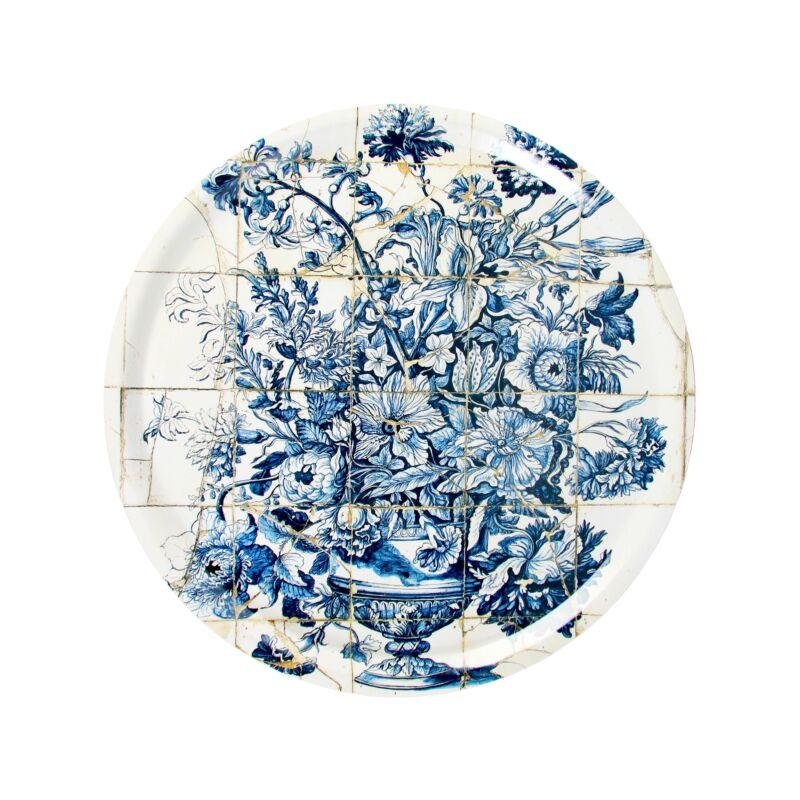 kék mintás nyírfa tálca